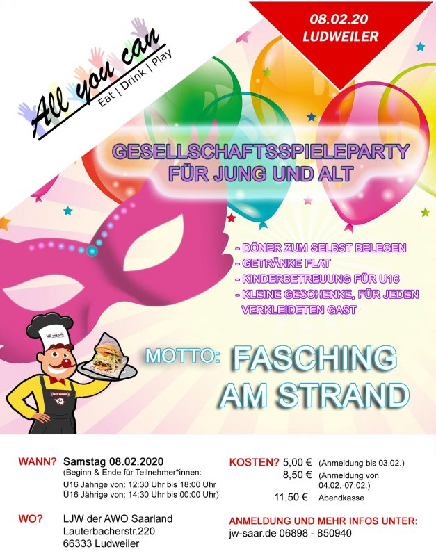 2. AYC Spieleparty – Fasching am Strand