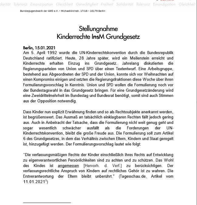 Stellungnahme Kinderrechte I(ns)M Grundgesetz des BuJW